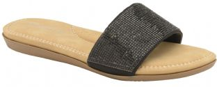 Dunlop Womens Eleanor Black Slide Sandals